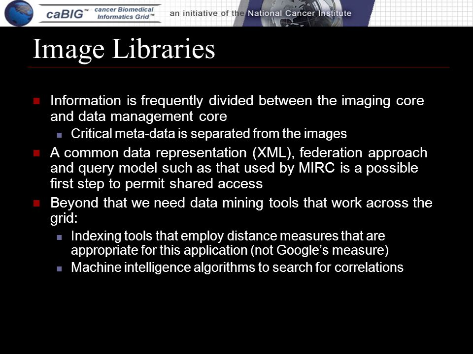 Image Libraries Information is frequently divided between the imaging core and data management core Critical meta-data is separated from the images A common data representation (XML), federation approach and query model such as that used by MIRC is a possible first step to permit shared access Beyond that we need data mining tools that work across the grid: Indexing tools that employ distance measures that are appropriate for this application (not Googles measure) Machine intelligence algorithms to search for correlations