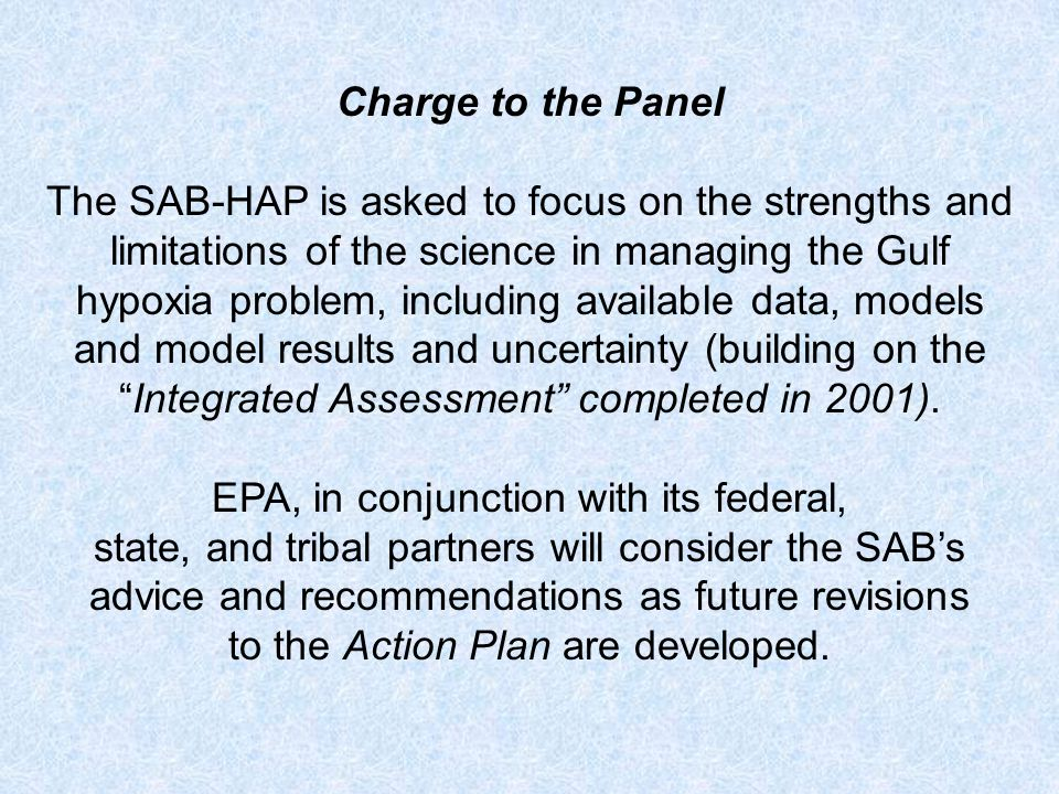 Charge to the Panel The SAB-HAP is asked to focus on the strengths and limitations of the science in managing the Gulf hypoxia problem, including available data, models and model results and uncertainty (building on theIntegrated Assessment completed in 2001).