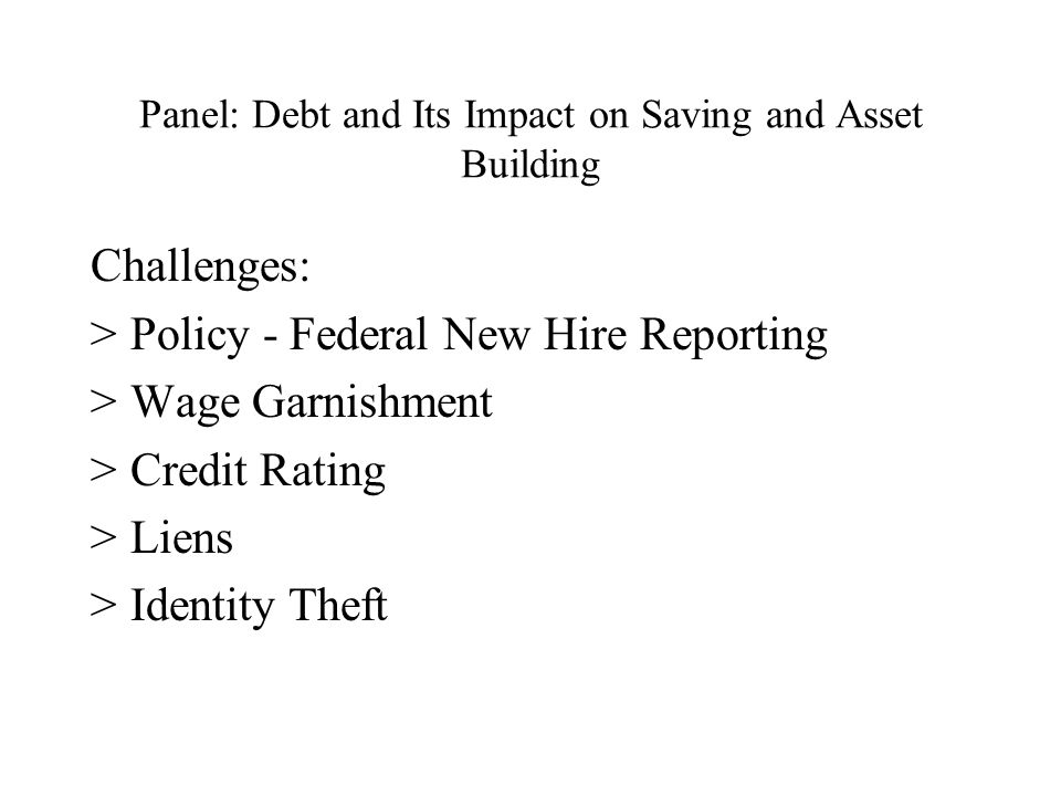 Panel: Debt and Its Impact on Saving and Asset Building Challenges: >Policy - Federal New Hire Reporting >Wage Garnishment >Credit Rating >Liens >Identity Theft