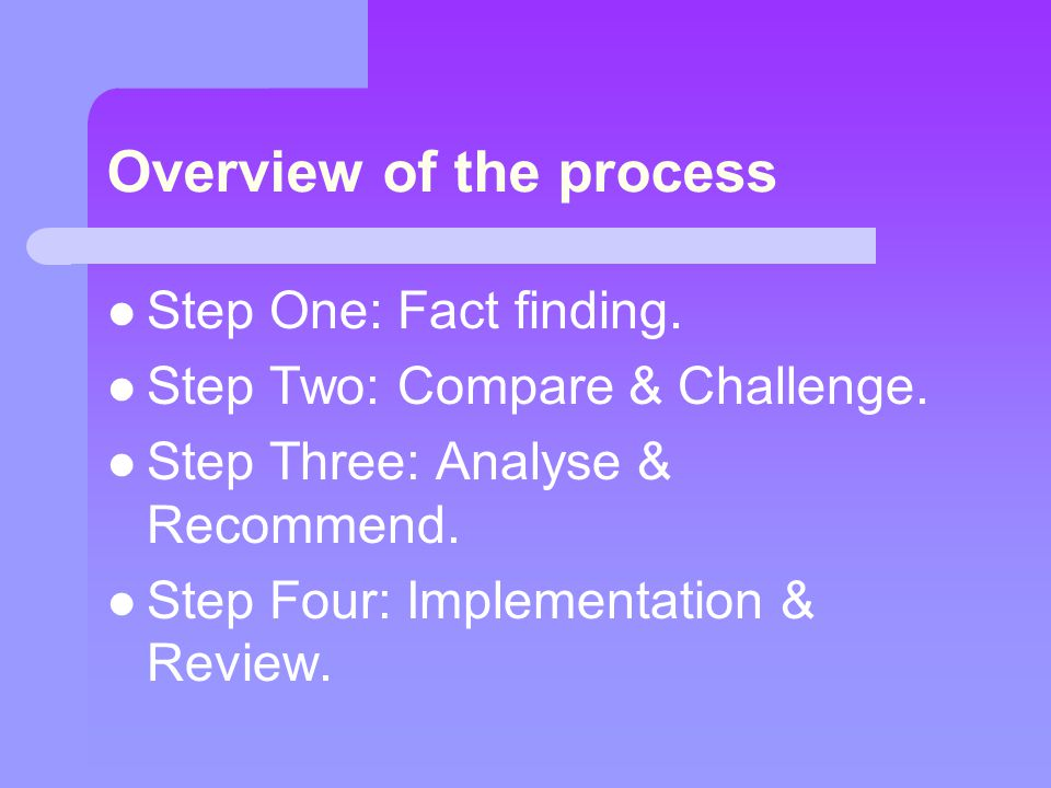 Overview of the process Step One: Fact finding. Step Two: Compare & Challenge. Step Three: Analyse & Recommend. Step Four: Implementation & Review.