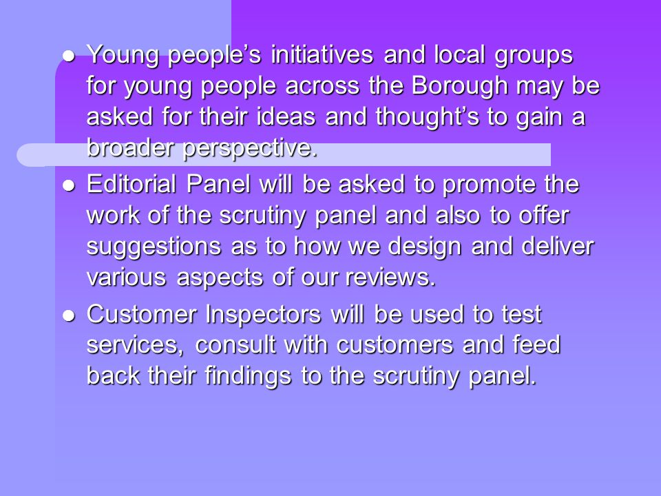 Young peoples initiatives and local groups for young people across the Borough may be asked for their ideas and thoughts to gain a broader perspective