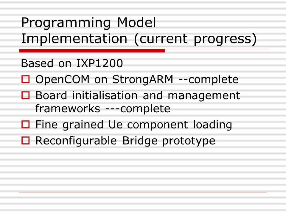 Programming Model Implementation (current progress) Based on IXP1200 OpenCOM on StrongARM --complete Board initialisation and management frameworks --