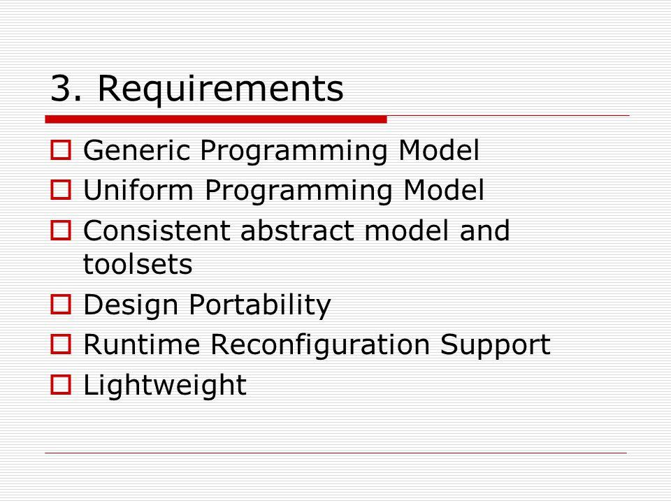 3. Requirements Generic Programming Model Uniform Programming Model Consistent abstract model and toolsets Design Portability Runtime Reconfiguration