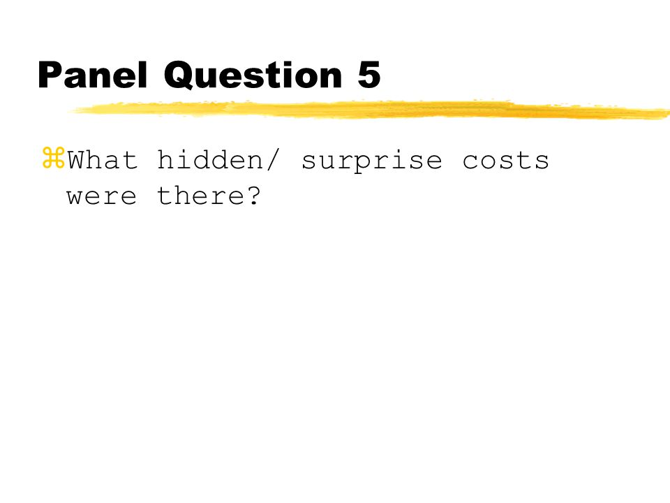Panel Question 5 zWhat hidden/ surprise costs were there?