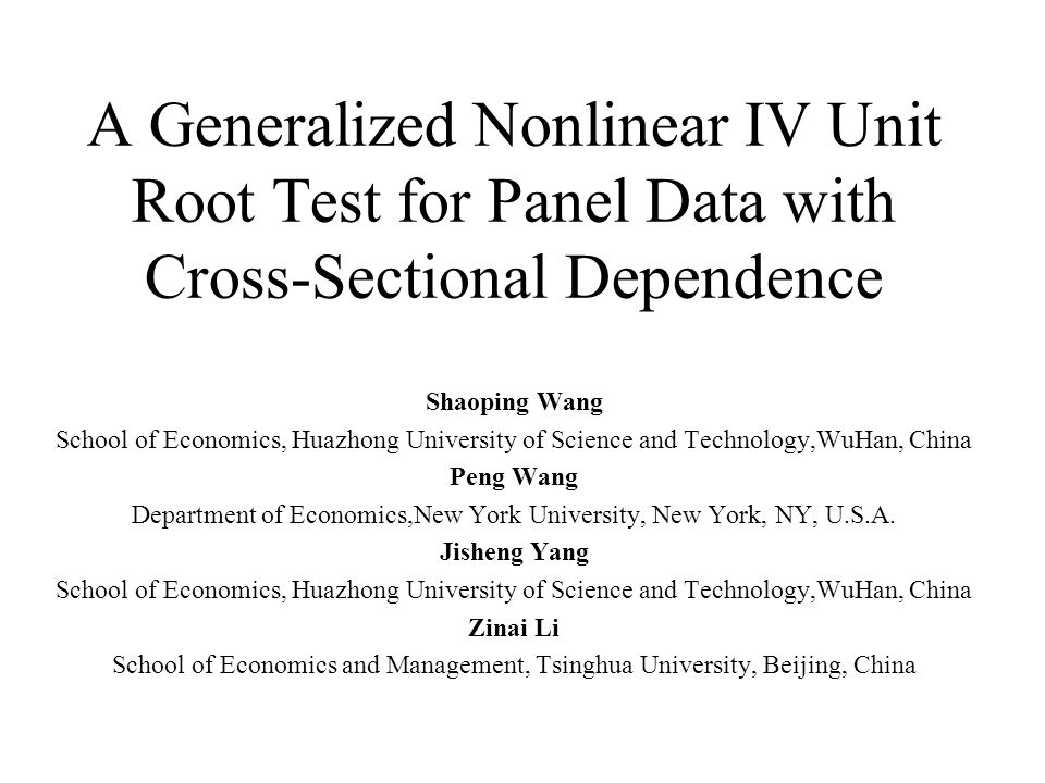 Findings about Chang (2002) The bigger the N is, the Smaller the correlation coefficient of cross-sectional units becomes.