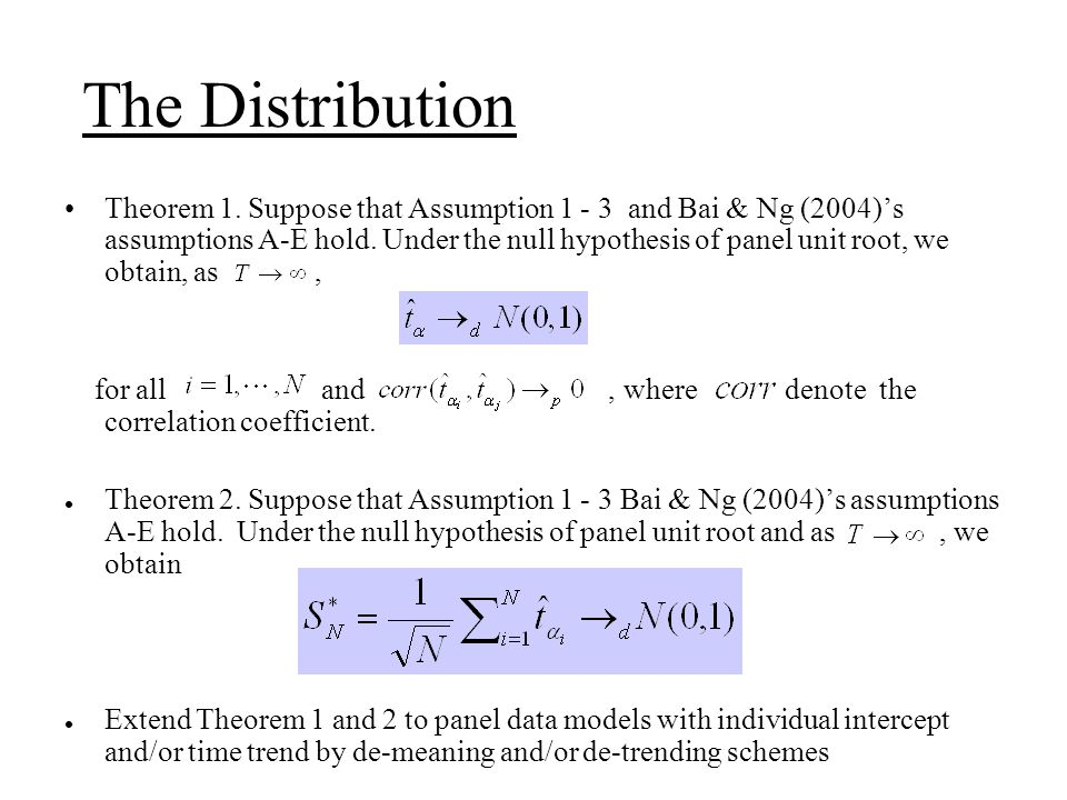 The Distribution Theorem 1.