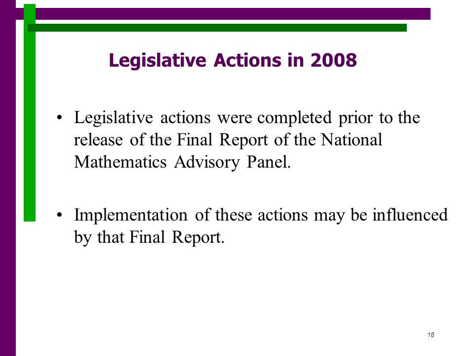 18 Legislative Actions in 2008 Legislative actions were completed prior to the release of the Final Report of the National Mathematics Advisory Panel.