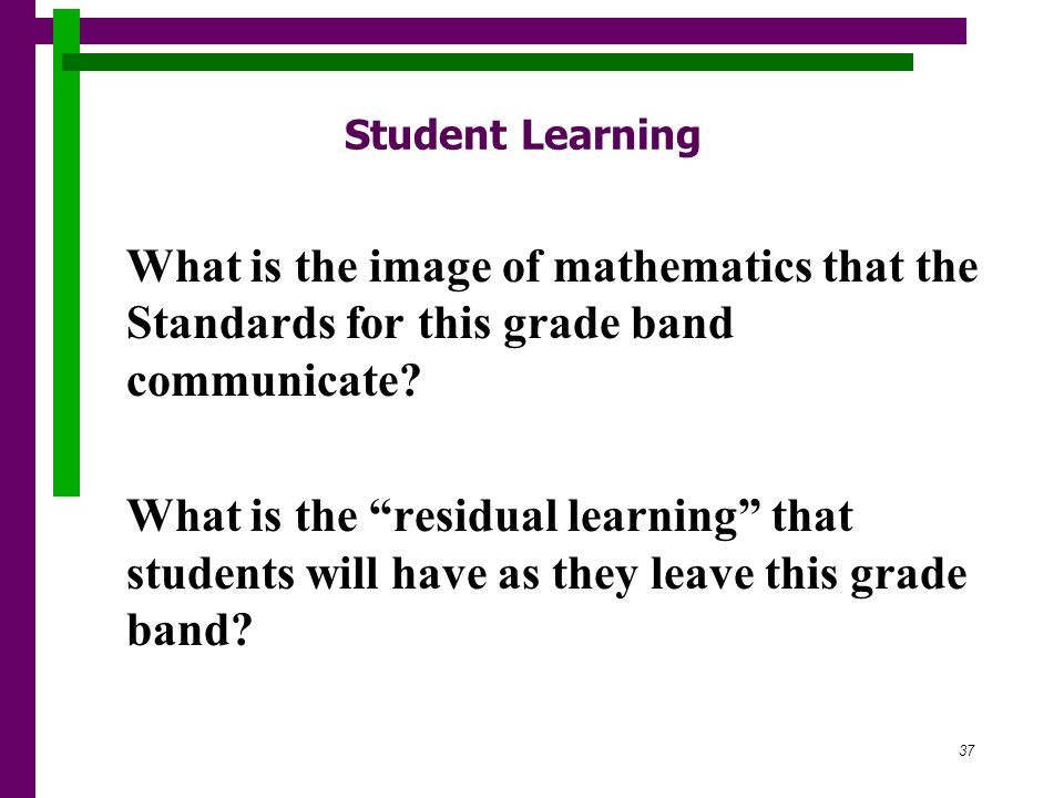 37 Student Learning What is the image of mathematics that the Standards for this grade band communicate.