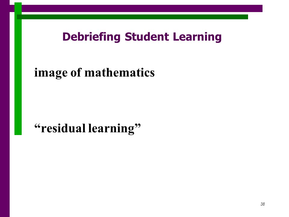 38 Debriefing Student Learning image of mathematics residual learning