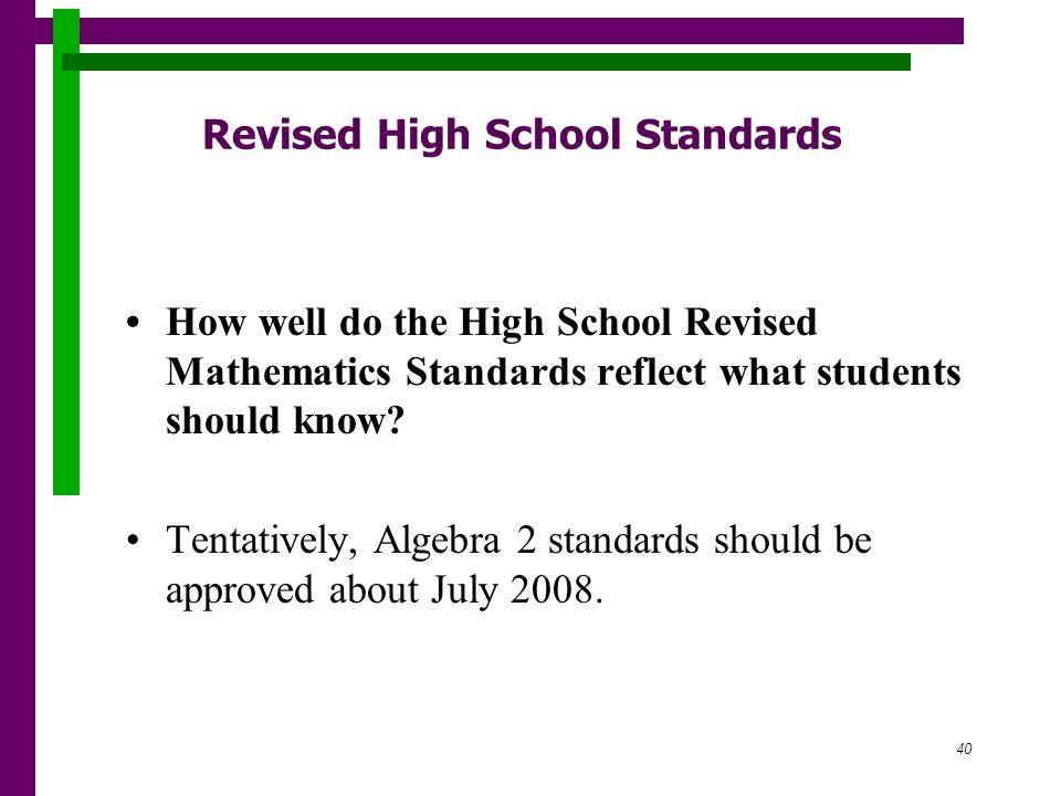 40 Revised High School Standards How well do the High School Revised Mathematics Standards reflect what students should know.