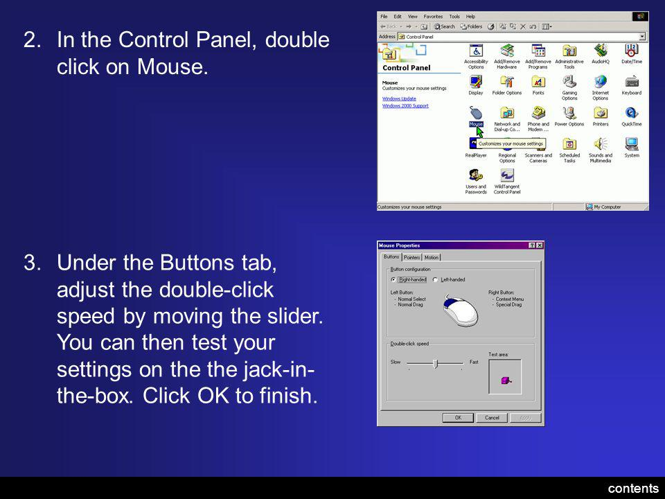2.In the Control Panel, double click on Mouse.