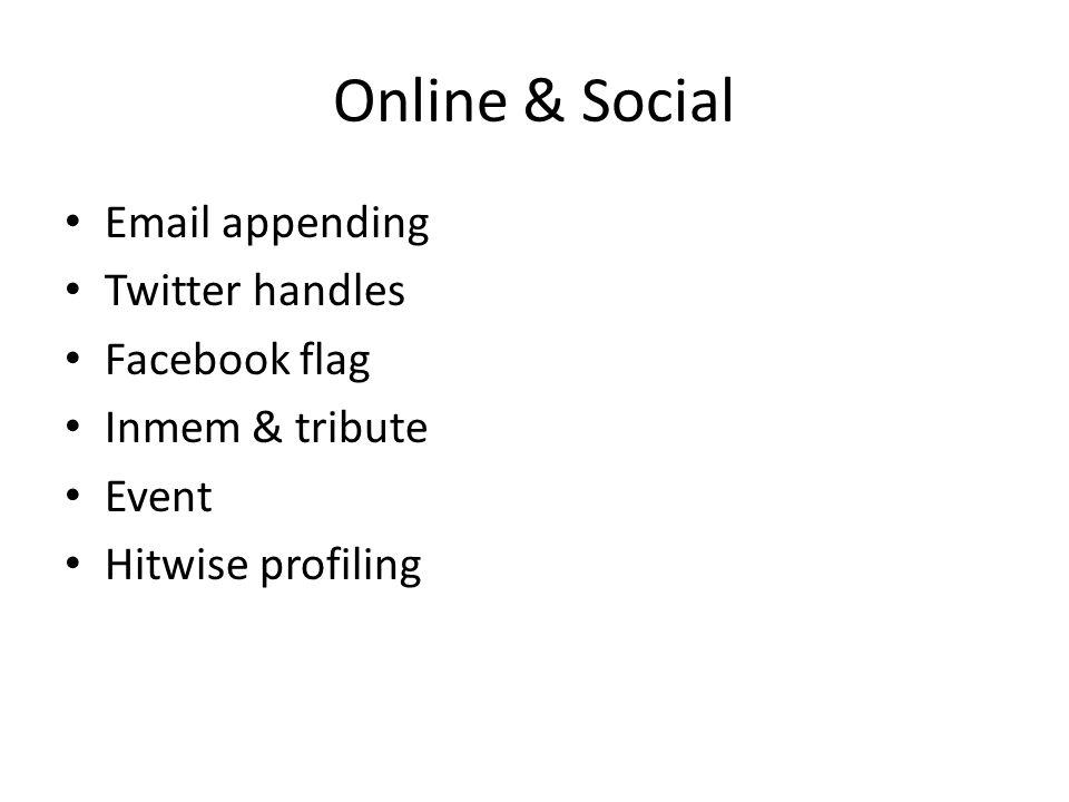 Online & Social Email appending Twitter handles Facebook flag Inmem & tribute Event Hitwise profiling