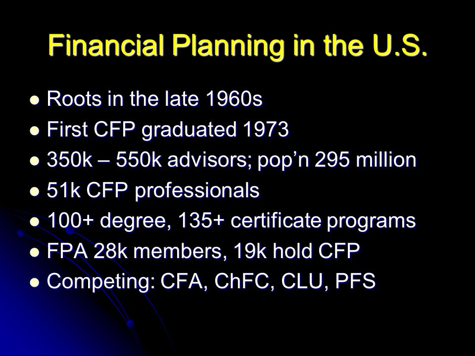 Financial Planning in the U.S.