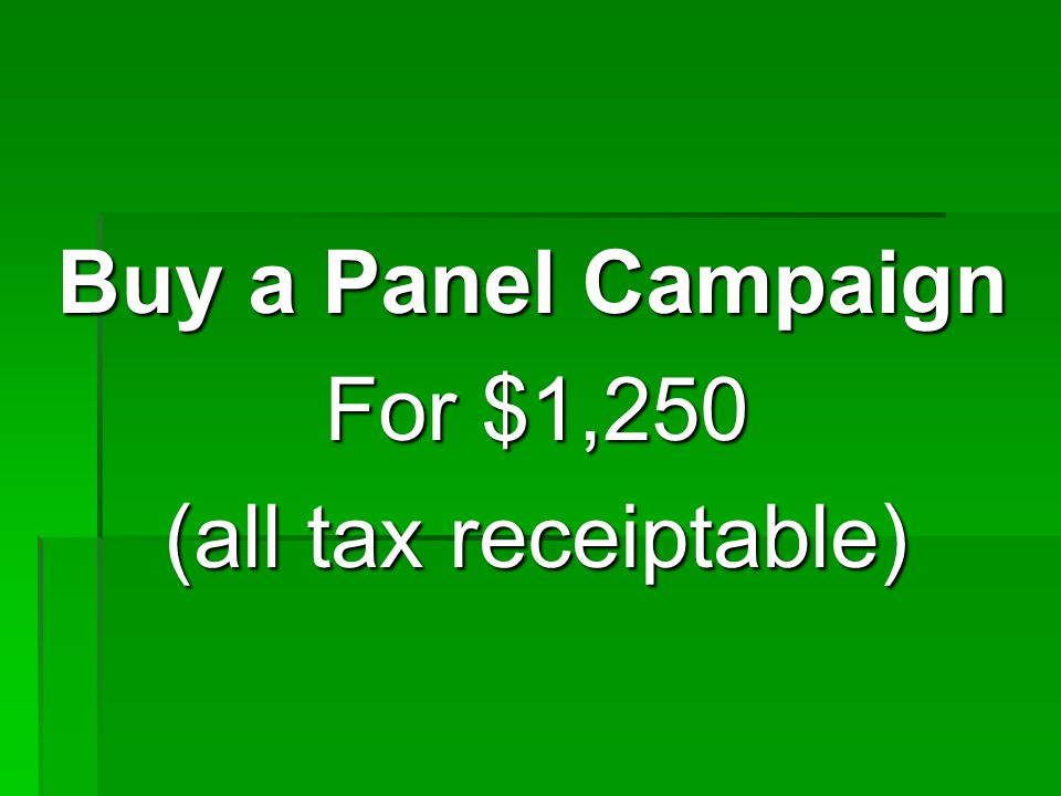 Buy a Panel Campaign For $1,250 (all tax receiptable)