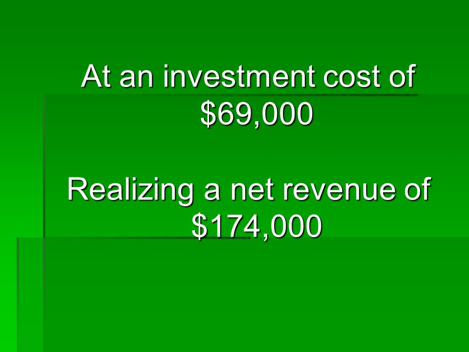 At an investment cost of $69,000 Realizing a net revenue of $174,000