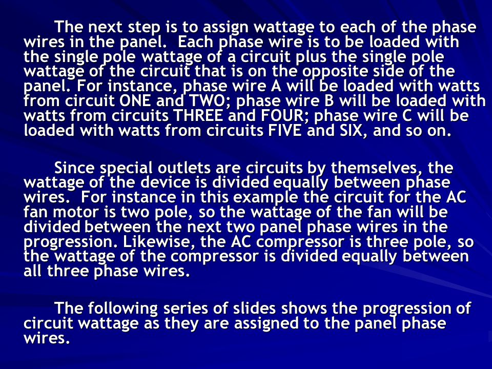 The next step is to assign wattage to each of the phase wires in the panel.