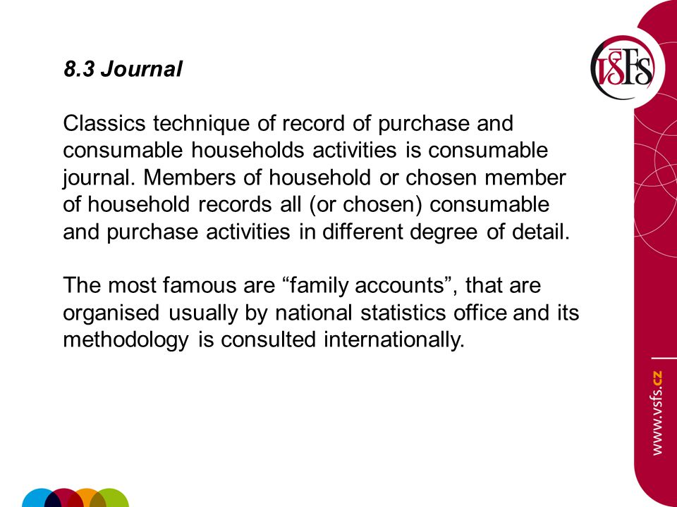 8.3 Journal Classics technique of record of purchase and consumable households activities is consumable journal.