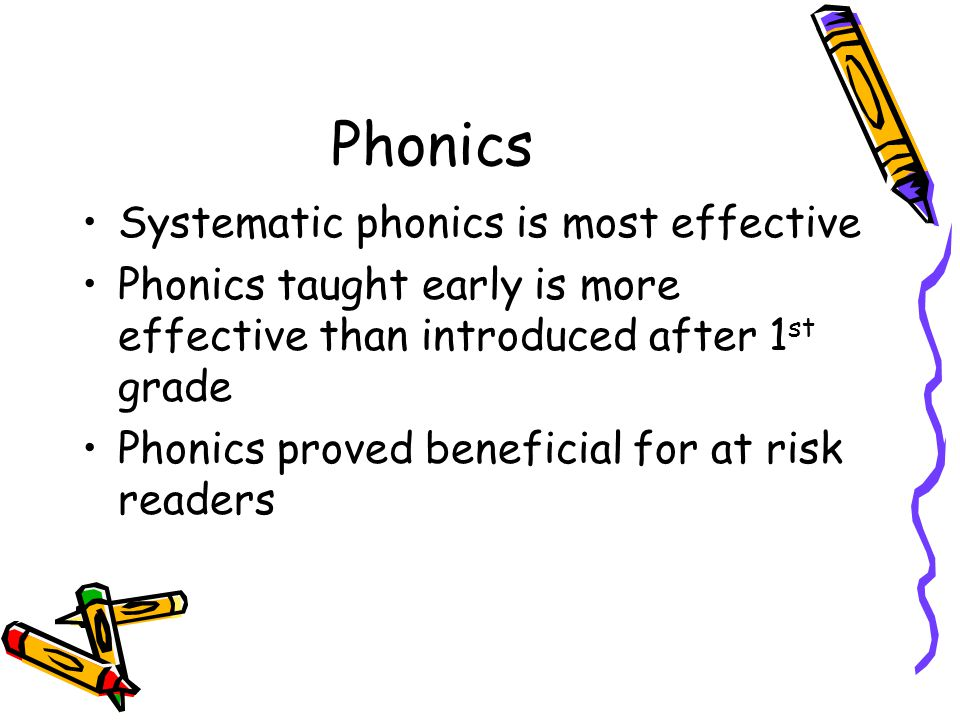 Phonics Systematic phonics is most effective Phonics taught early is more effective than introduced after 1 st grade Phonics proved beneficial for at risk readers