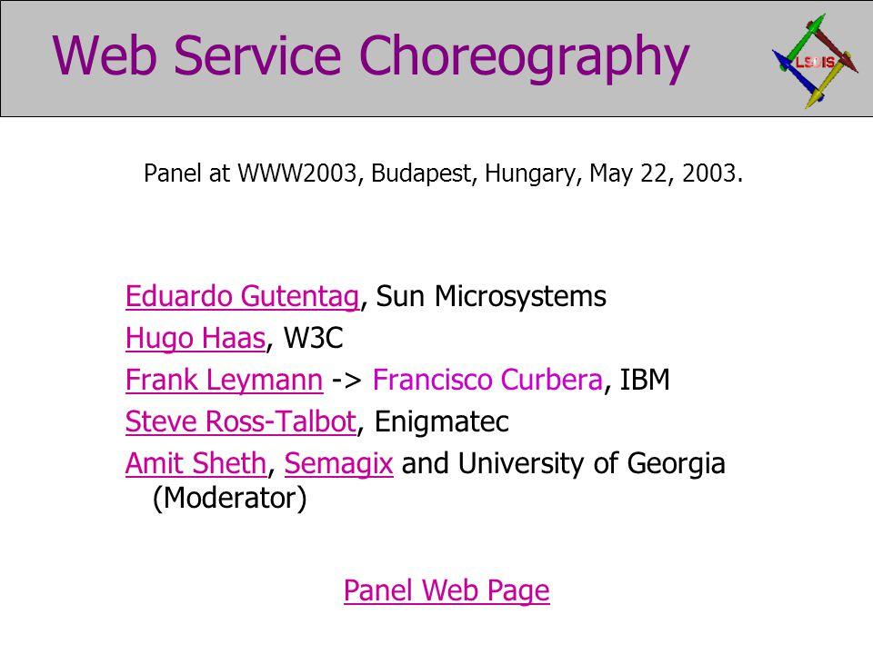 Web Service Choreography Panel at WWW2003, Budapest, Hungary, May 22, 2003.