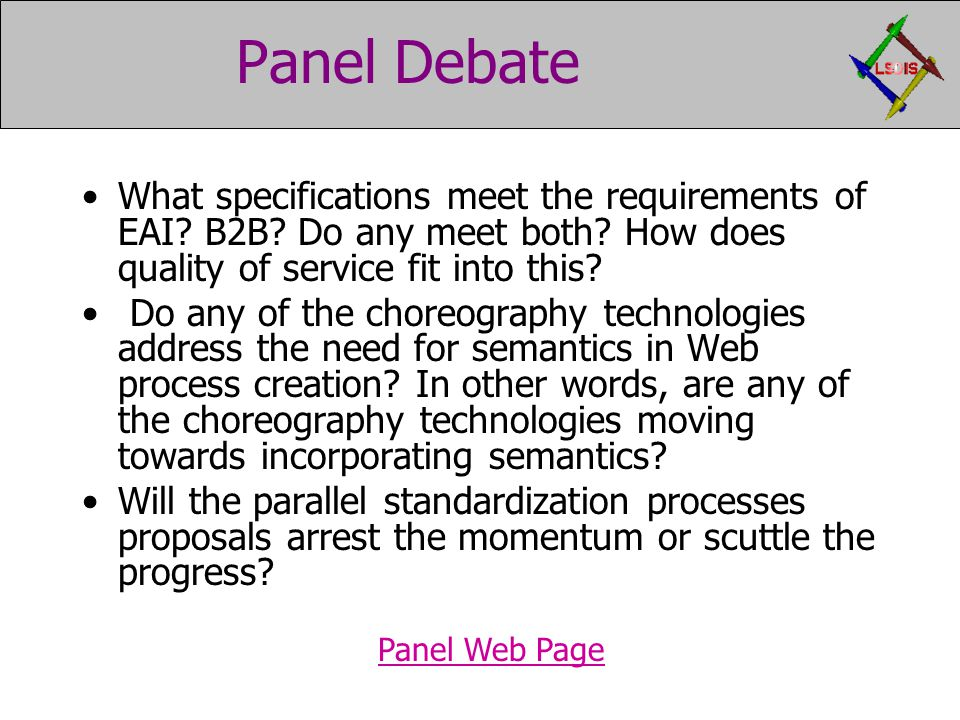 Panel Debate What specifications meet the requirements of EAI.