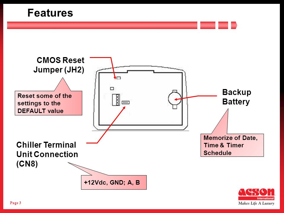 Page 3 Features Backup Battery CMOS Reset Jumper (JH2) Chiller Terminal Unit Connection (CN8) +12Vdc, GND; A, B Reset some of the settings to the DEFAULT value Memorize of Date, Time & Timer Schedule