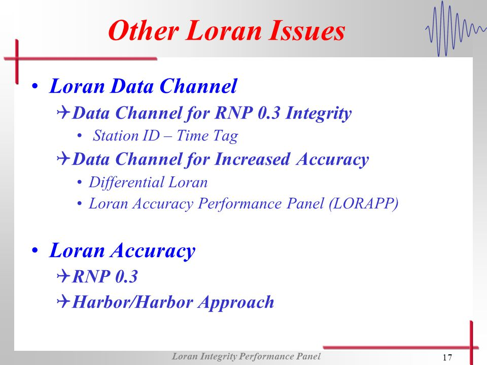 Loran Integrity Performance Panel 17 Other Loran Issues Loran Data Channel QData Channel for RNP 0.3 Integrity Station ID – Time Tag QData Channel for Increased Accuracy Differential Loran Loran Accuracy Performance Panel (LORAPP) Loran Accuracy QRNP 0.3 QHarbor/Harbor Approach
