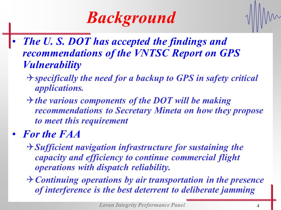 Loran Integrity Performance Panel 4 Background The U. S. DOT has accepted the findings and recommendations of the VNTSC Report on GPS Vulnerability Qs