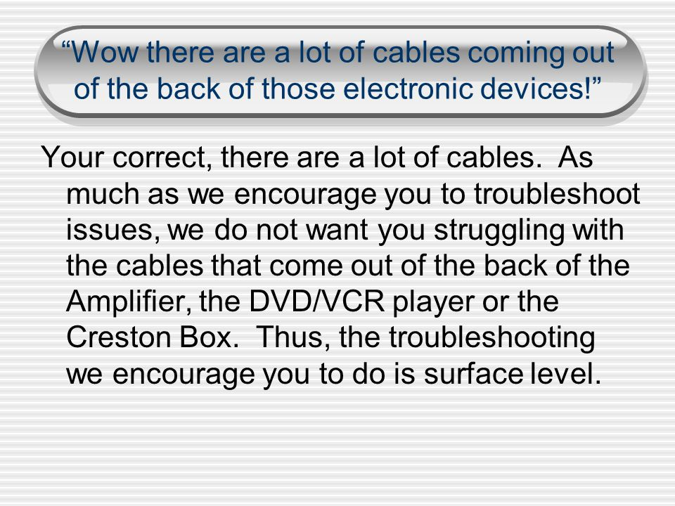 Wow there are a lot of cables coming out of the back of those electronic devices.