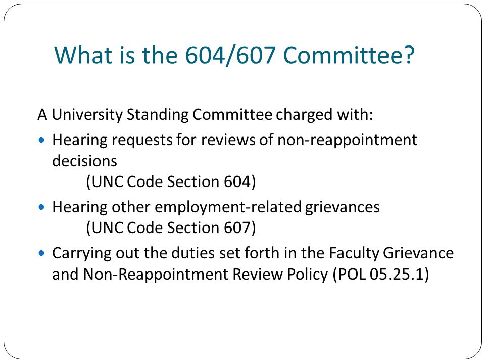 What is the 604/607 Committee.
