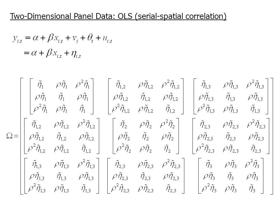 Two-Dimensional Panel Data: OLS (serial-spatial correlation)