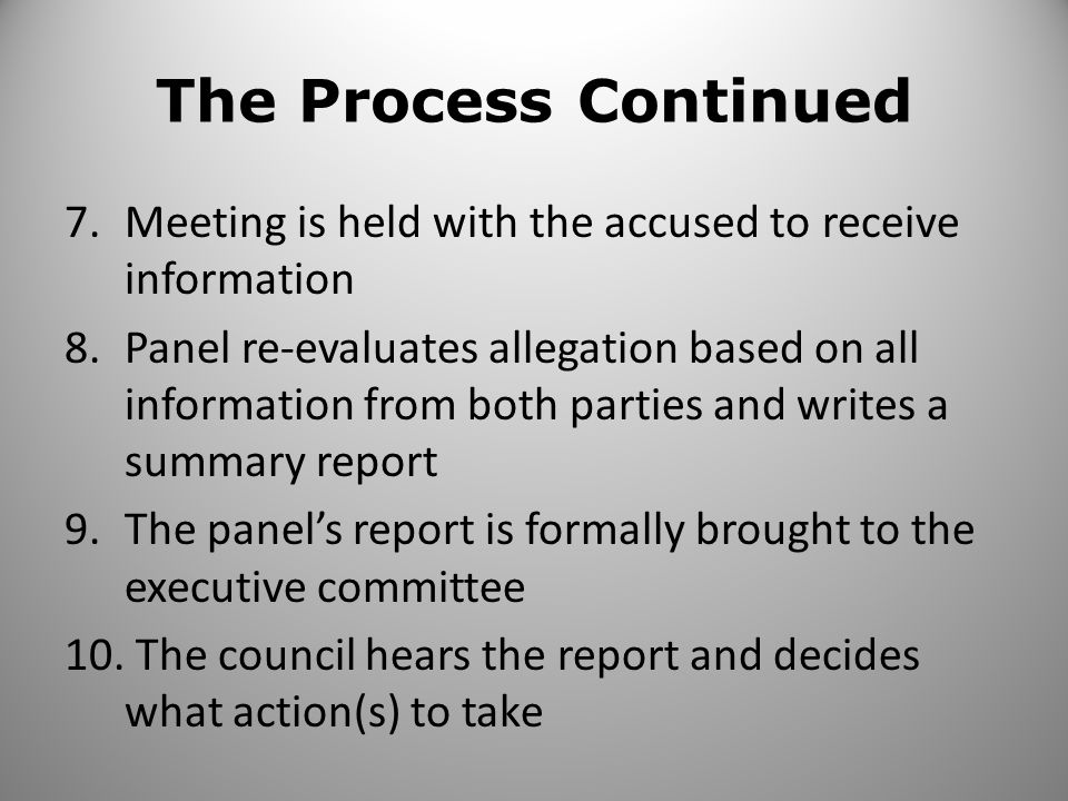The Process Continued 7.Meeting is held with the accused to receive information 8.Panel re-evaluates allegation based on all information from both parties and writes a summary report 9.The panels report is formally brought to the executive committee 10.