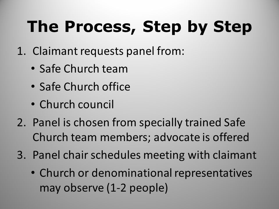 The Process Continued 4.Panel meets with claimant (and advocate) to hear all information 5.Panel evaluates information: Veracity – more likely than not to be true Serious – requiring action 6.If panel determines allegation is likely and is serious, written charges are given and a meeting is requested with the accused