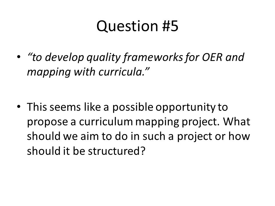 Question #6 Are there any barriers that the panel foresees and if so what are some ways to overcome them?