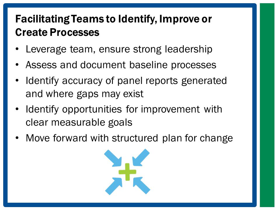 Facilitating Teams to Identify, Improve or Create Processes Leverage team, ensure strong leadership Assess and document baseline processes Identify accuracy of panel reports generated and where gaps may exist Identify opportunities for improvement with clear measurable goals Move forward with structured plan for change