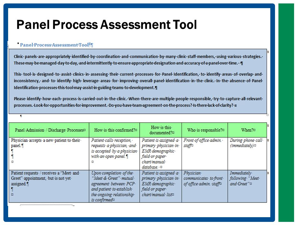 Panel Process Assessment Tool