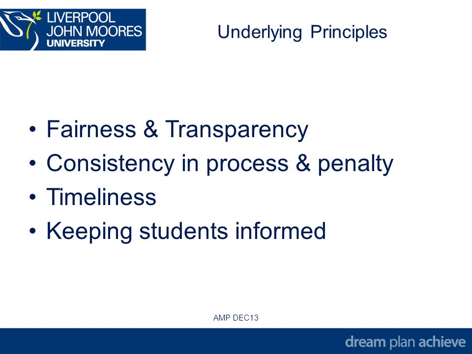 Underlying Principles Fairness & Transparency Consistency in process & penalty Timeliness Keeping students informed AMP DEC13