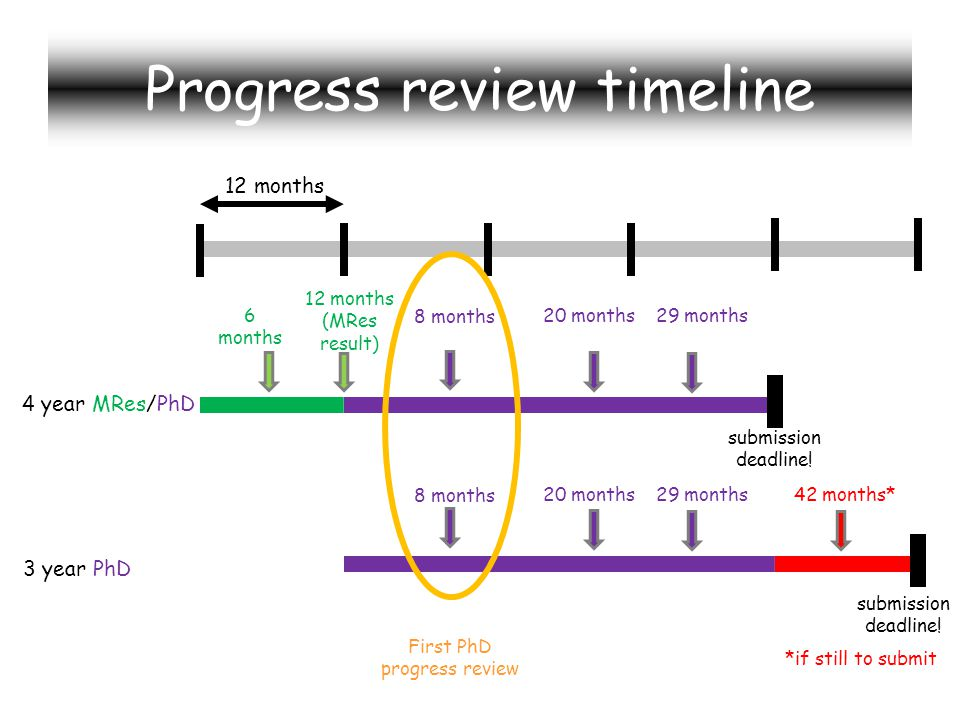 Progress review timeline 4 year MRes/PhD 3 year PhD 12 months submission deadline.