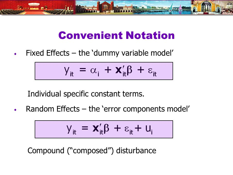 Convenient Notation Fixed Effects – the dummy variable model Random Effects – the error components model Individual specific constant terms.