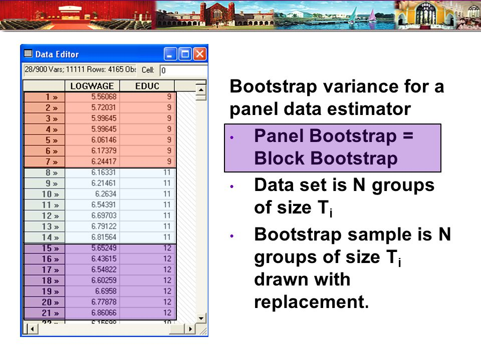 Bootstrap variance for a panel data estimator Panel Bootstrap = Block Bootstrap Data set is N groups of size T i Bootstrap sample is N groups of size