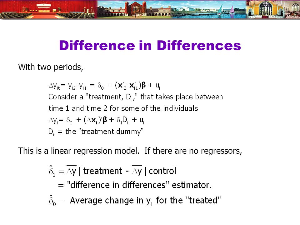 Difference in Differences With two periods, This is a linear regression model. If there are no regressors,
