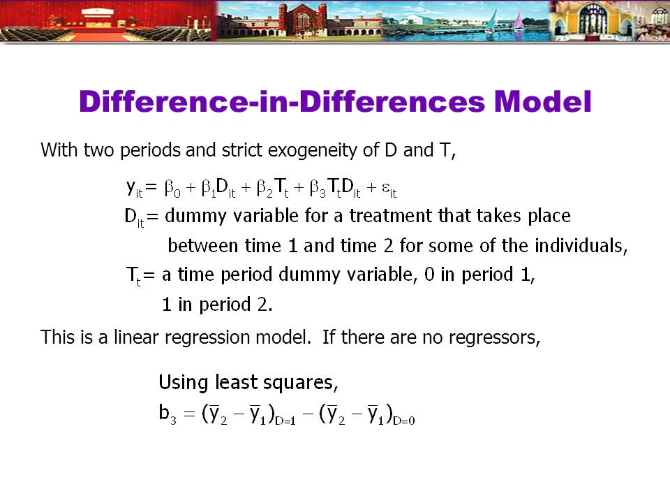 Difference-in-Differences Model With two periods and strict exogeneity of D and T, This is a linear regression model.