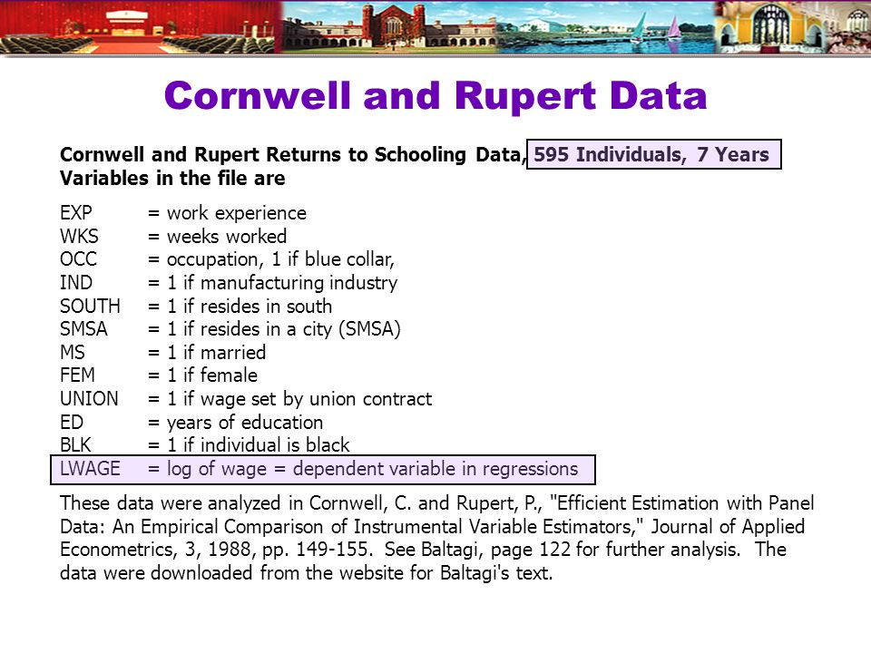 Cornwell and Rupert Data Cornwell and Rupert Returns to Schooling Data, 595 Individuals, 7 Years Variables in the file are EXP = work experience WKS = weeks worked OCC = occupation, 1 if blue collar, IND = 1 if manufacturing industry SOUTH = 1 if resides in south SMSA= 1 if resides in a city (SMSA) MS = 1 if married FEM = 1 if female UNION = 1 if wage set by union contract ED = years of education BLK = 1 if individual is black LWAGE = log of wage = dependent variable in regressions These data were analyzed in Cornwell, C.