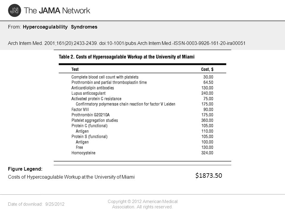 Date of download: 9/25/2012 Copyright © 2012 American Medical Association. All rights reserved. From: Hypercoagulability Syndromes Arch Intern Med. 20
