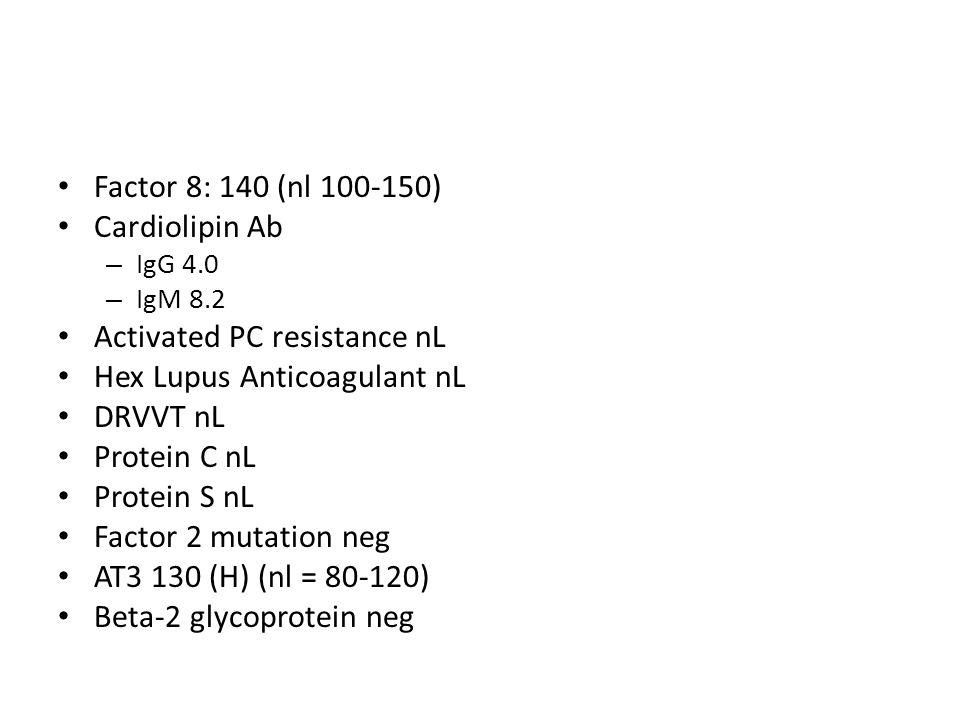 Factor 8: 140 (nl 100-150) Cardiolipin Ab – IgG 4.0 – IgM 8.2 Activated PC resistance nL Hex Lupus Anticoagulant nL DRVVT nL Protein C nL Protein S nL