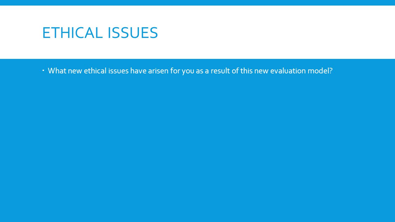ETHICAL ISSUES What new ethical issues have arisen for you as a result of this new evaluation model?