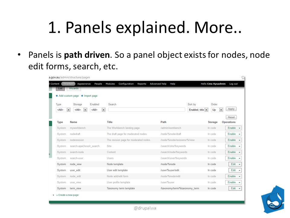 1. Panels explained. More.. Panels is path driven.
