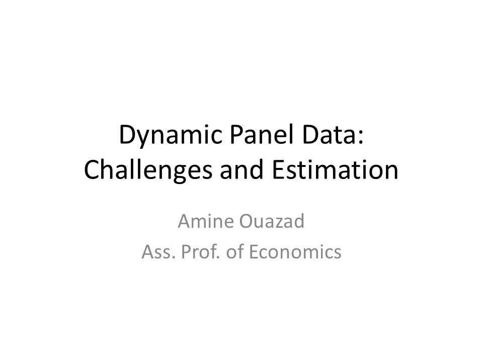 Dynamic Panel Data: Challenges and Estimation Amine Ouazad Ass. Prof. of Economics