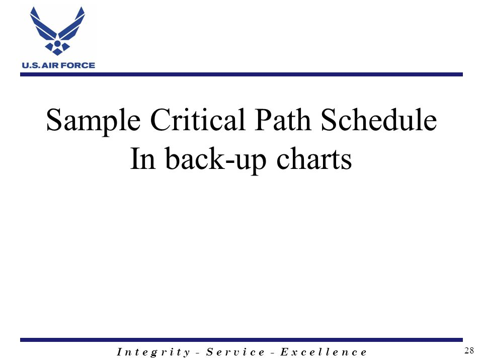 I n t e g r i t y - S e r v i c e - E x c e l l e n c e 28 Sample Critical Path Schedule In back-up charts