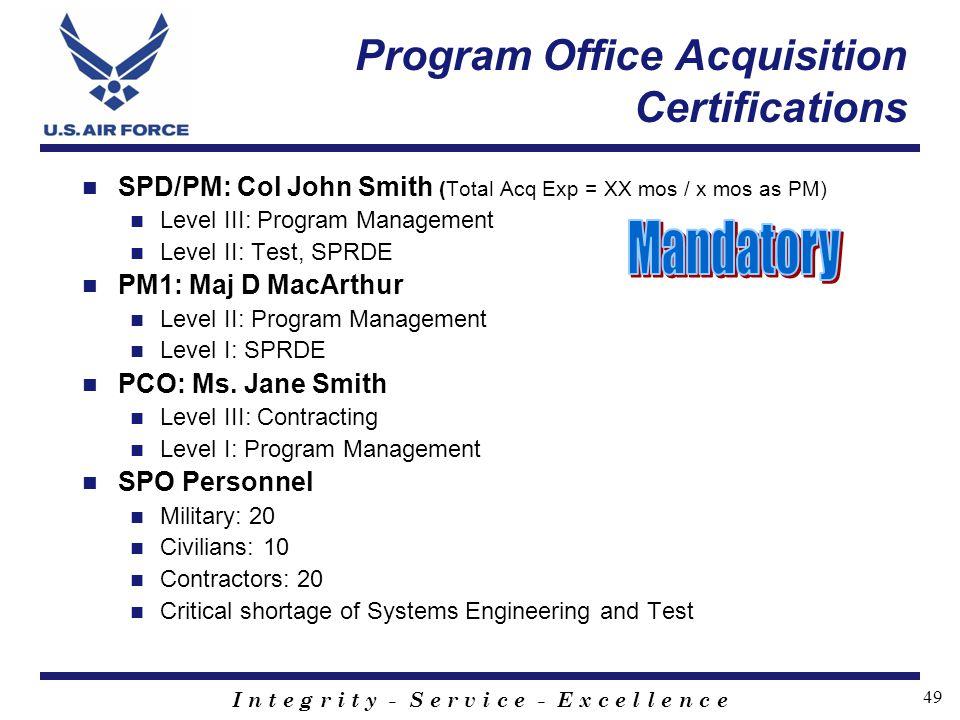 I n t e g r i t y - S e r v i c e - E x c e l l e n c e 49 Program Office Acquisition Certifications SPD/PM: Col John Smith (Total Acq Exp = XX mos /