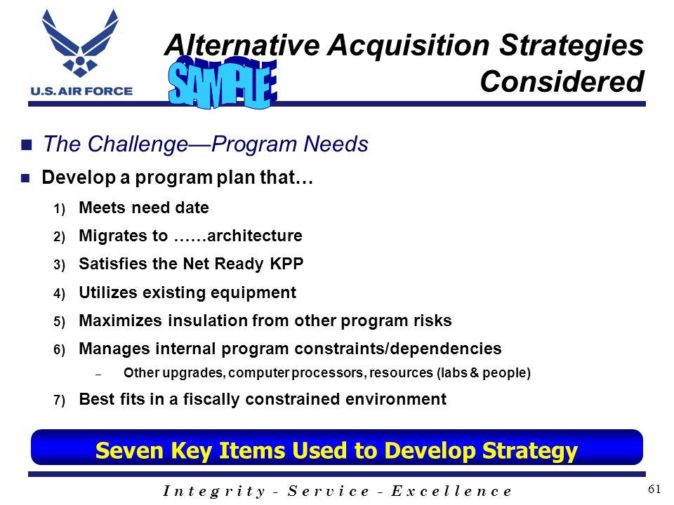 I n t e g r i t y - S e r v i c e - E x c e l l e n c e 61 Alternative Acquisition Strategies Considered The ChallengeProgram Needs Develop a program